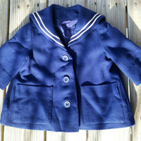 50's Kids Navy Blue Sailor Coat. Toddler Sailor Coat, Vintage Sailor Coat, Sailor Jacket, Nautical Coat, Vintage Toddler Jacket, 4T