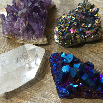 Healing Crystal Set Cluster Collection Raw Amethyst Crystal Spiritual Healing Crystals and Stones Bohemian Decor Titanium Quartz Citrine