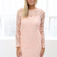 yasmin lace dress - peach - sale