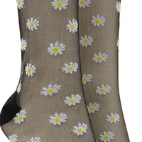 Sheer Daisy Print Crew Socks
