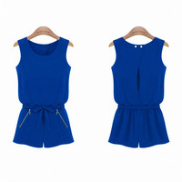 Royal Blue Sleeveless Chiffon Romper