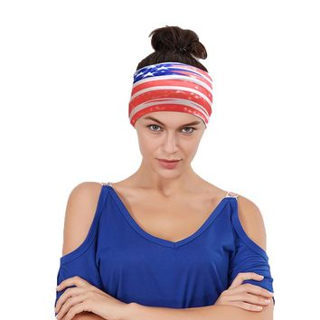 New Popular Unisex American Flag Stripe Sports Yoga Headband Hair Clips For Women