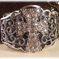 Antique Silver Rhinestone Cross Cuff by HisJewelsCreations on Etsy