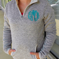 Monogrammed 1/4 zip Heathered Fleece Font Shown  MASTER CIRCLE