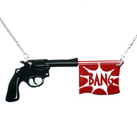 Bang Gun Necklace 16 inch silver plated chain by sourcherrycouk