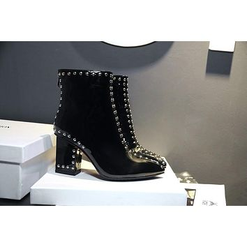 Studded Ankle Patent Leather Boots