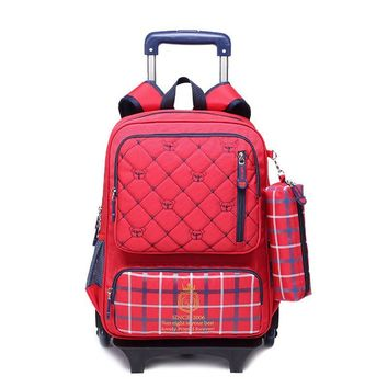 Children three Wheeled Trolley School Bag set Girls and boys Plaid Cartoon Bear Kid Backpack School Waterproof Canvas book bags