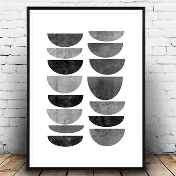 Minimalist print, Abstract art, Geometric poster, Mid century modern, Scandinavian design, Minimal decor, Modern wall art, Black and white