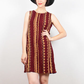 Vintage 90s Dress Burgundy Tan Brown Tribal Print Mini Dress Boho Soft Grunge Dress 1990s Dress Draped Shift Dress Hippie Dress M L Large