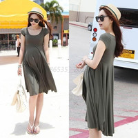 Fashion Summer Pregnant Women Short Sleeve Loose Dress Maternity Cotton Dresses (Size: L) = 1946383492