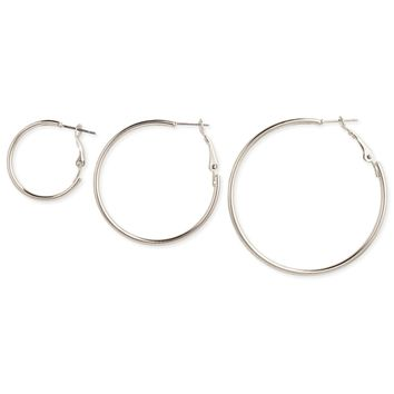 Set of 3 Silver Graduating Hoop Earrings