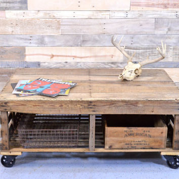 Reclaimed Wood Chicken Coop Coffee Table, Reclaimed Wood Coffee Table, Farmhouse Coffee Table