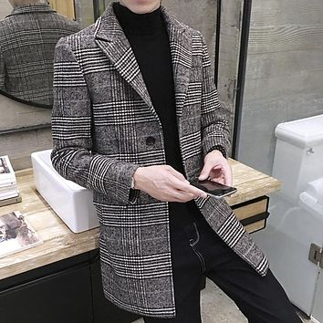 Newest Korean Style Autumn Winter Men Woolen Coat Long Slim Fit Cozy lattice Coats Good Quality