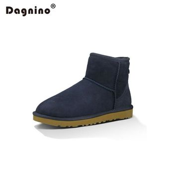 DAGNINO Original Winter Natural Fur Leather Brand Ankle Boots Australia Ug Style Sheepskin Boots Warm Women Add Wool Snow Boots