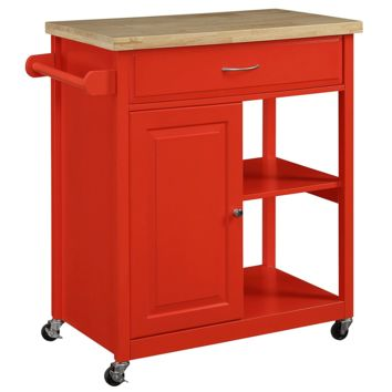 New Century® Wooden Red Kitchen Island Cart W/ Cabinet & Towel Holder