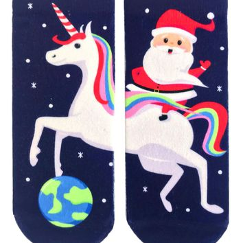 Santa Unicorn Ankle Socks
