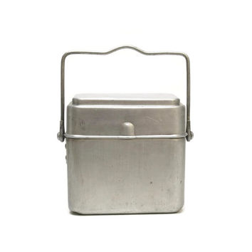 French Lunch Canteen. Vintage Aluminium Lunch Box.