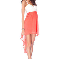 Ring Around the Lacey Dress in Coral :: tobi