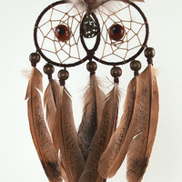 Owl Dream Catcher, home decor, fashion accessory, February trend, unique design, handmade brown owl with feathers and wooden beads