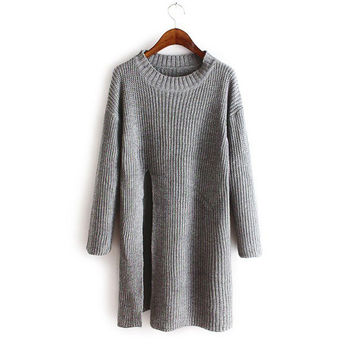 Split Sweater Irregular Knit Tops Jacket Dress One Piece Dress [8216402049]