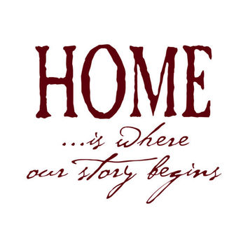 Home is Where Our Story Begins - Vinyl Wall Decal Quote Lettering Decor - Entry Way Family Den Living Room Wall Art 18H x 22W HQ001