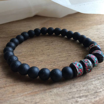 Onyx Bracelet with Coral and Turquoise Inlay - Black Onyx Bracelet - Meditation Bracelet - Stretch Bracelet - Zen Stacking Bracelet