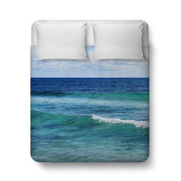 Quintana Roo - Duvet Cover, Blue & Green Coastal Ocean Waves Decor, Beach Surf Style Bed Blanket Throw Bedding, . In Twin Full Queen King