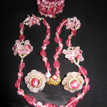 Miriam Haskell Jewelry Vintage, Necklace Bracelet Earring Signed Set Pink Glass