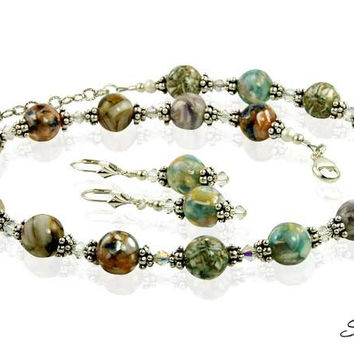 Earth-tone Mother of Pearl Crystal Necklace Set
