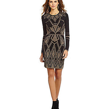 Gianni Bini Miranda Metallic Tribal Sweater Dress - Black/Gold