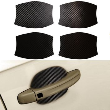 8.5x9cm 4D Stickers Of Door Handle Carbon Fiber Vinyl Car Decals Universal Car-Styling Protection Sticker  4pcs Car Accessories