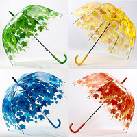 4 Colors Leaves Cage Umbrella Transparent Rainny Sunny Umbrella Parasol Cute Umbrella Women Cute Clear Paraguas Free Shipping
