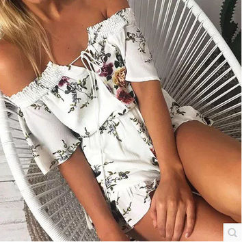 Floral Print White One Shoulder Jumpsuit [10893364815]