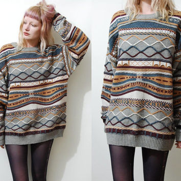 c1193e9ac63 90s Vintage CABLE KNIT Sweater Jumper Multi-Colour Cosby Coogi Grunge 1990s  vtg Knitted Unisex L