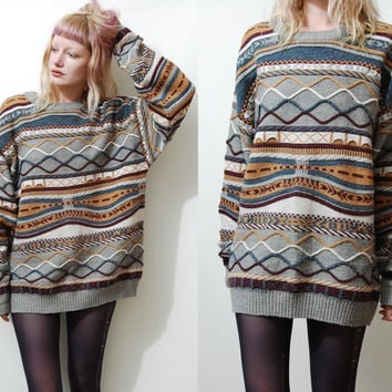 90s Vintage CABLE KNIT Sweater Jumper Multi-Colour Cosby Coogi Grunge 1990s vtg Knitted Unisex L