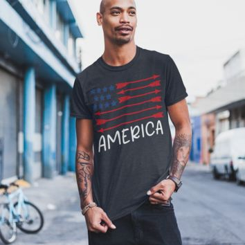Men's Men's American Flag Arrow T-Shirt Freedom Patriotic 4th July Shirt America Shirts Memorial Day Shirt Hipster