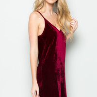 Open Back Crush Velvet Cami Slip Dress in Burgundy