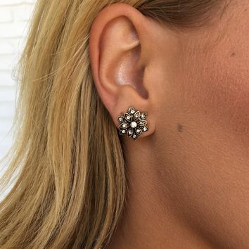 Floral Crystal Stud Earrings