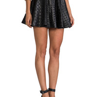 DRESS THE POPULATION Devin Leather Skirt in Black