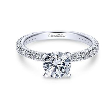 1.40cttw Pave Diamond Engagement Ring with 1ct Round Center