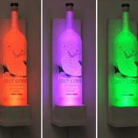 Grey Goose Wall Mount Vodka Color Changing LED Remote Control Eco Friendly Bottle Lamp Bar Light Bodacious Bottles-