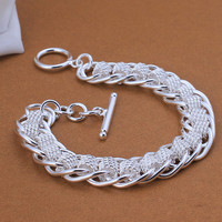 Silver plated Bracelet & bangle cheap charm linked bracelets for women wedding gift high quality love vintage jewelry