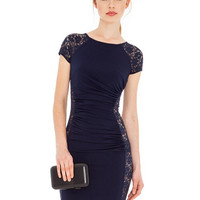 Navy Foral Lace cut out Dress
