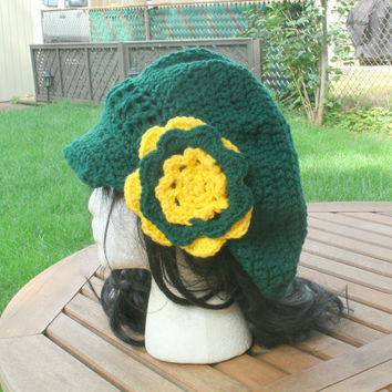 Hand Crochet Hat - The Green Bay Packer Newsboy - Women's Cap - Sports Hat