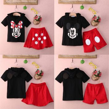Mickey Mouse Clothing Twins Suit Children's Cartoon Two-piece Cotton Hoodie+Shorts / Skirt Boys and Girls Hooded Sweater