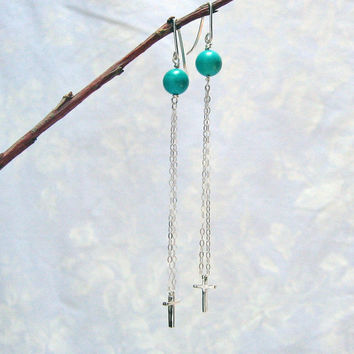 Cross Dangle Earrings, Long Double Chain Cross Earrings, Turquoise Earrings, Sterling Silver Cross Earrings, Handcrafted Earrings