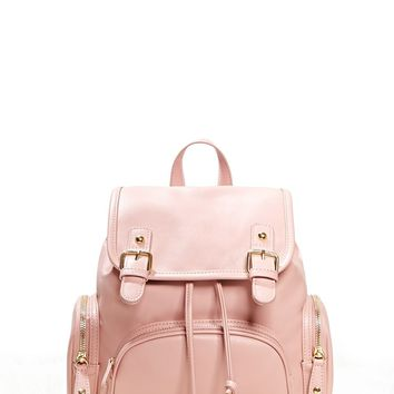 Faux Leather Flap-Top Backpack