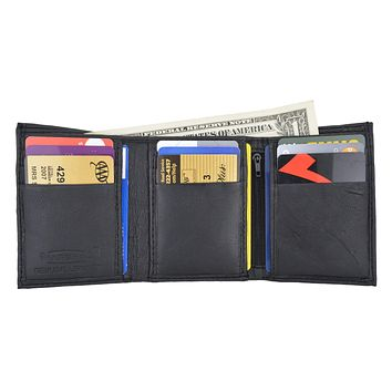 Men's Genuine Leather Trifold Credit Card Money Holder Wallet W/Outside ID Window by Swiss Marshal SM-P1355