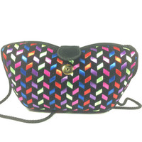 The Vintage multicolored structured satin and velvet clutch