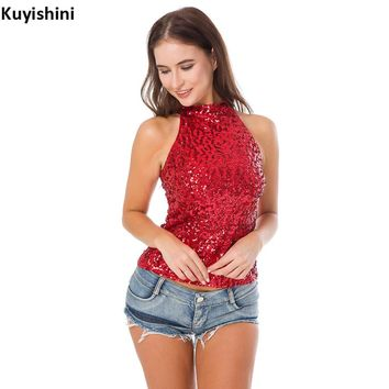 Sexy Nightclub DJ Stage Costumes Halter Neck Sequin Party Top Vest Women T-Shirt Shimmer Flashy Sleeveless Short Tank Tops